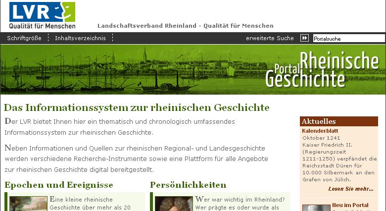 Screenshot Portal Rheinische Geschichte